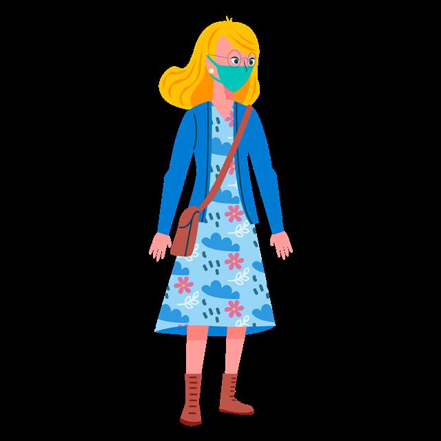 女孩戴口罩图片