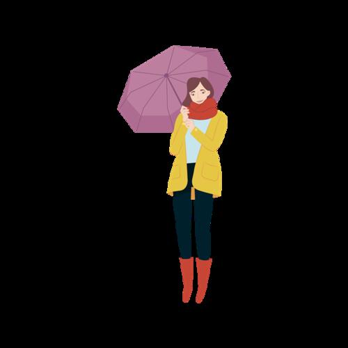 秋天下雨打伞人物插画