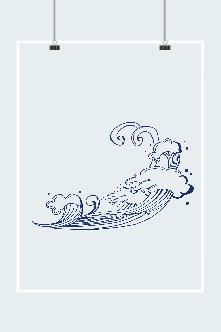 蓝色海浪花纹