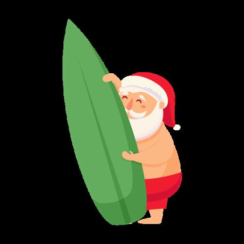 冲浪的圣诞老人图片