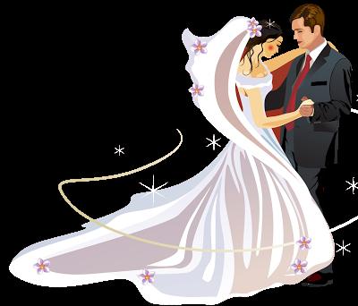 新娘新郎结婚插画