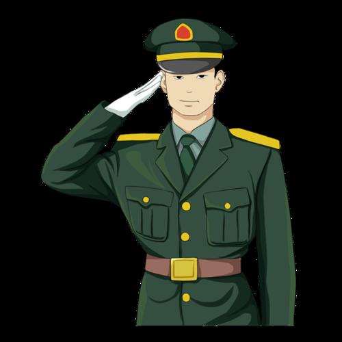 军人敬礼插画