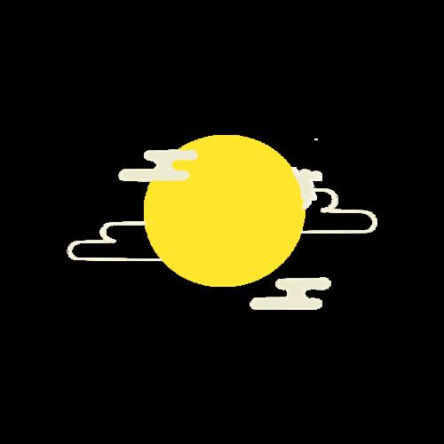 月亮祥云插画