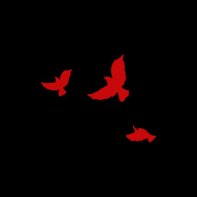 红色和平鸽剪影