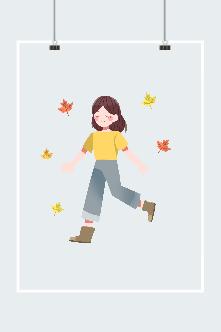 秋天枫叶女孩插画