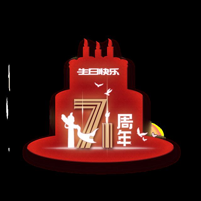 国庆71周年红色艺术字图片
