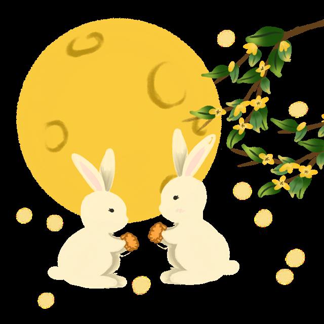 卡通兔子月亮