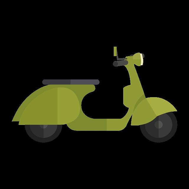 绿色电瓶车矢量图