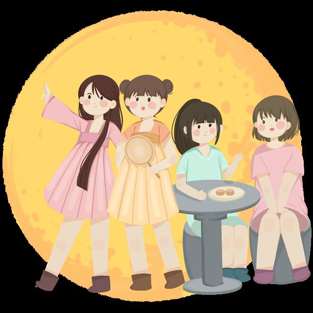 中秋少女们聚会插画