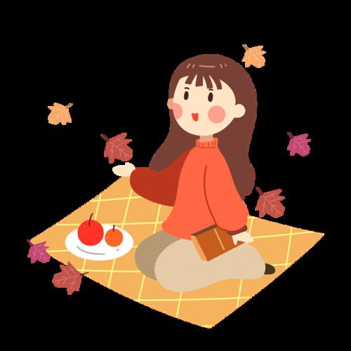 秋季枫叶女孩插画