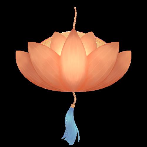 莲花灯笼节日元素