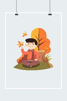秋季人物赏景插画