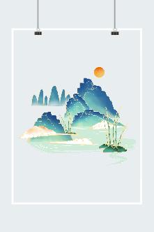 祥云红日山水画