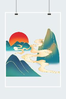 山水仙境插画