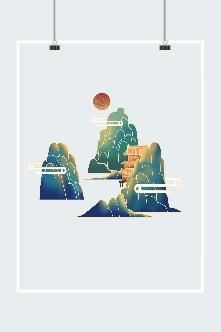 山水古风建筑风景画