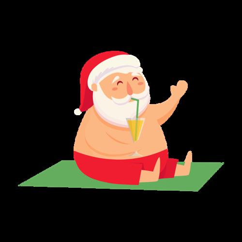 喝饮料的圣诞老人图片