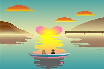 山水画海报背景图片