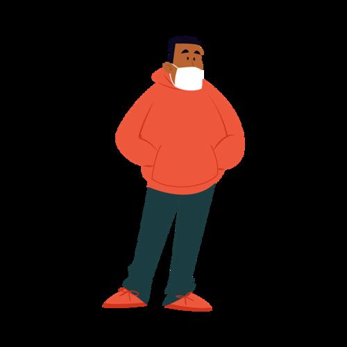 防疫人物戴口罩矢量图