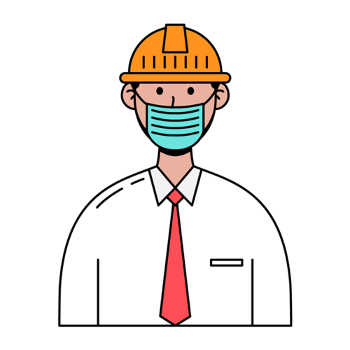 戴口罩工人矢量图