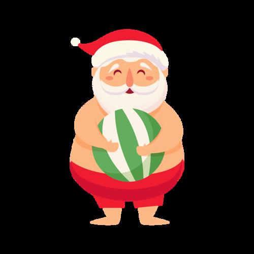 圣诞老人抱球图片