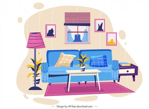 客厅装饰矢量图