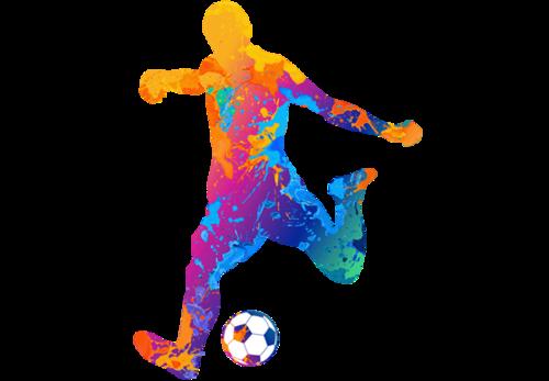 水彩喷墨足球运动员