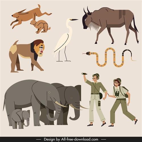 卡通非洲动物