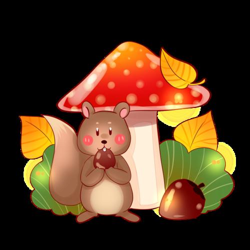 可爱小松鼠插画