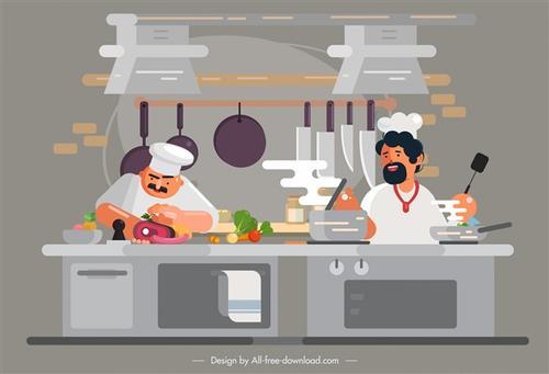 手绘厨师图片