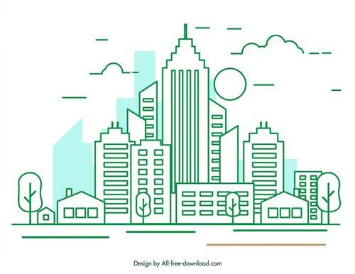 城市绿色剪影插画