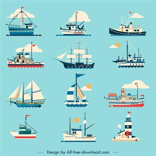 卡通船只图片
