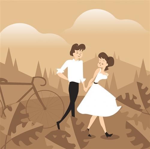 浪漫情侣卡通图片