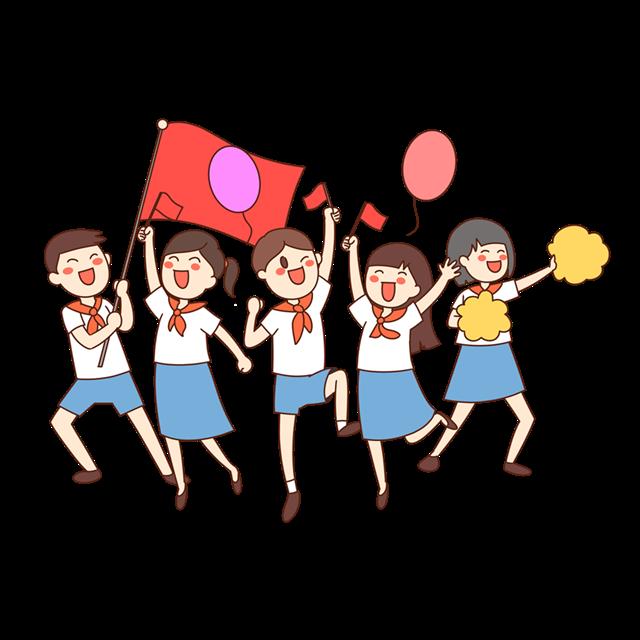 国庆节小学生卡通插画