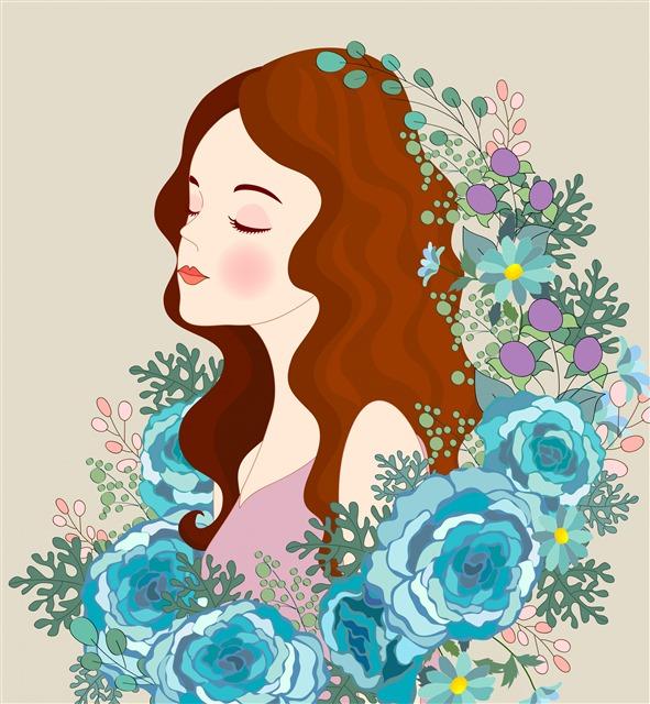 女孩花朵插图