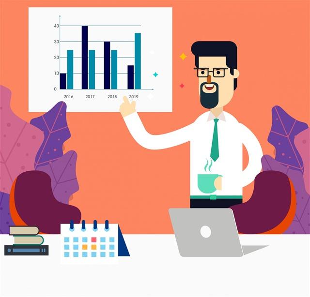 数据研究人物插画