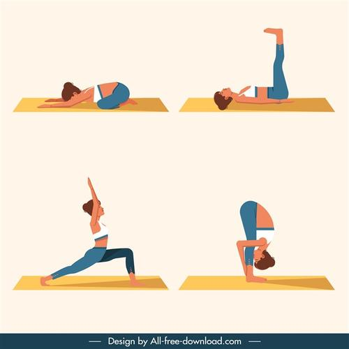瑜伽动作矢量图