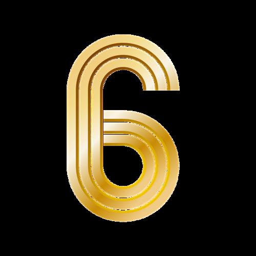 金色数字6