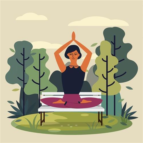 瑜伽女人矢量图