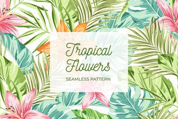 彩绘热带花草无缝背景图