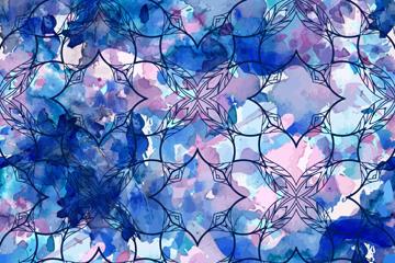 蓝色花卉无缝背景图