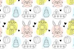 卡通机器人兔子插画图片