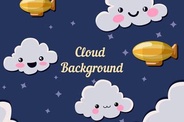 天空云朵插画背景图片
