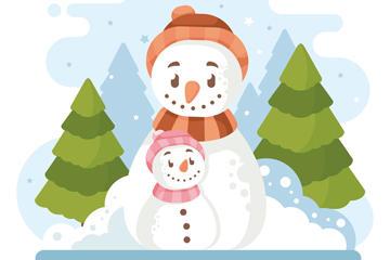 雪人插画图片