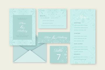 蓝色婚礼卡片