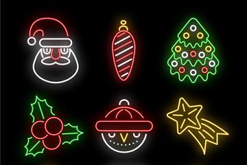圣诞节霓虹灯图标