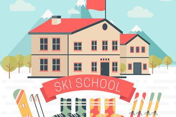 学校建筑矢量图