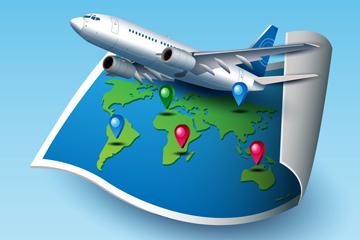 地图和飞机创意插画图片