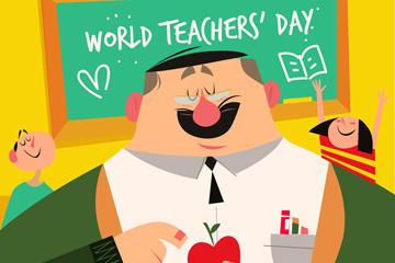 教师节老师和学生矢量图