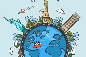 世界旅游日地球上的景点矢量图
