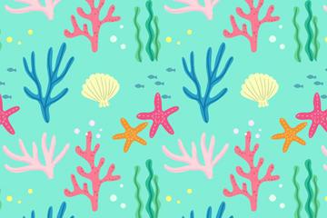 清新绿色海草卡通壁纸图片
